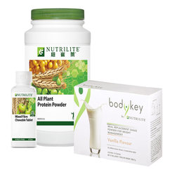 All Plant Protein 900g [1x] + Mixed Fibre Chewable Tab [1x] + Bodykey by Nutrilite Meal Replacement Shake Vanilla/Chocolate/Cafe [1x]