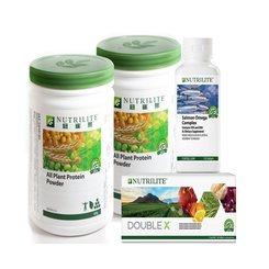 Nutrilite DOUBLE X REFILL [1x] + Nutrilite Protein Drink Mix Protein Mixed Berry/Green Tea/Chocolate/All Plant [2x] + Nutrilite Salmon Omega 120sg [1x]
